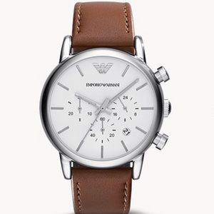 EMPORIO ARMANI  BROWN LEATHER WATCH